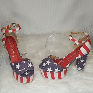 Jeffrey Cambell Americana platform heels sz 7